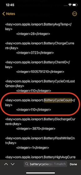 Battery cycle count on iOS