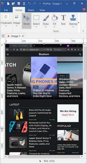 Take a Scrolling Screenshot on Windows 10 PicPick