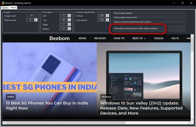 Сделайте снимок экрана с прокруткой в Windows 10 ShareX