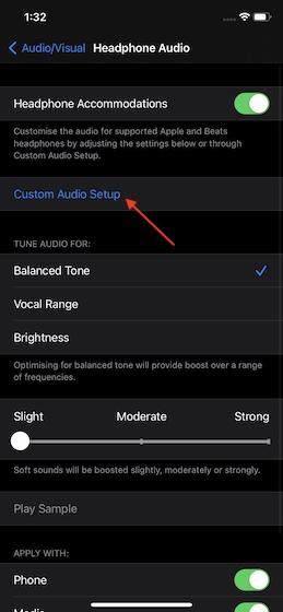 Tap on Custom Audio Setup