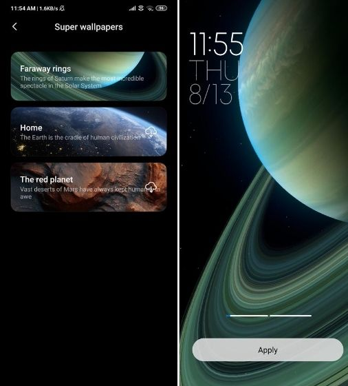 Install Saturn Super Wallpaper on Xiaomi Devices