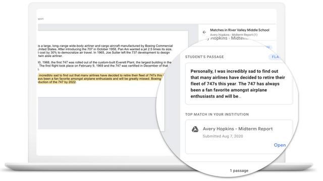google classroom originality report