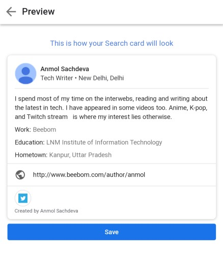 Google People Cards are virtual visiting cards on Google Search