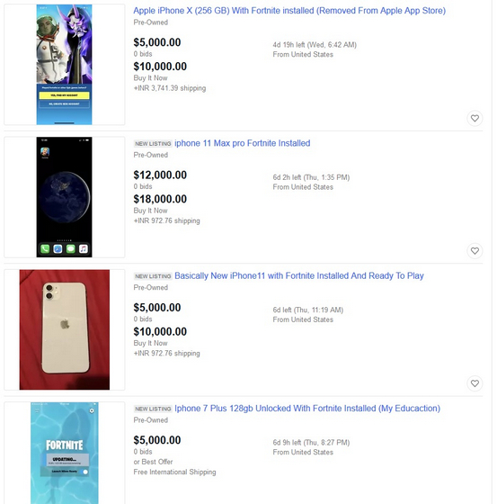 iPhones with Pre-installed Fortnite Being Sold for up to $20,000 on eBay