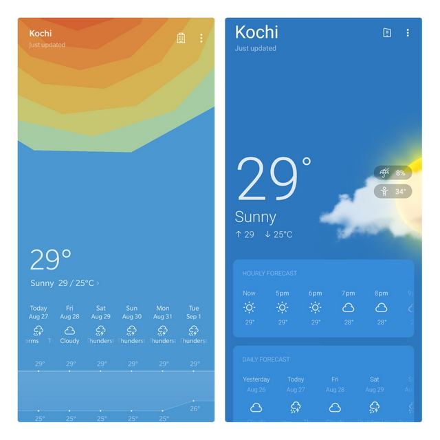Oneplus Weather Old UI vs New UI