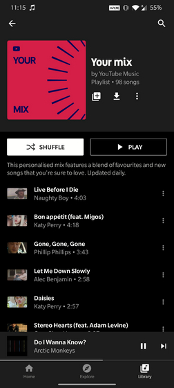 your mix playlist yt music
