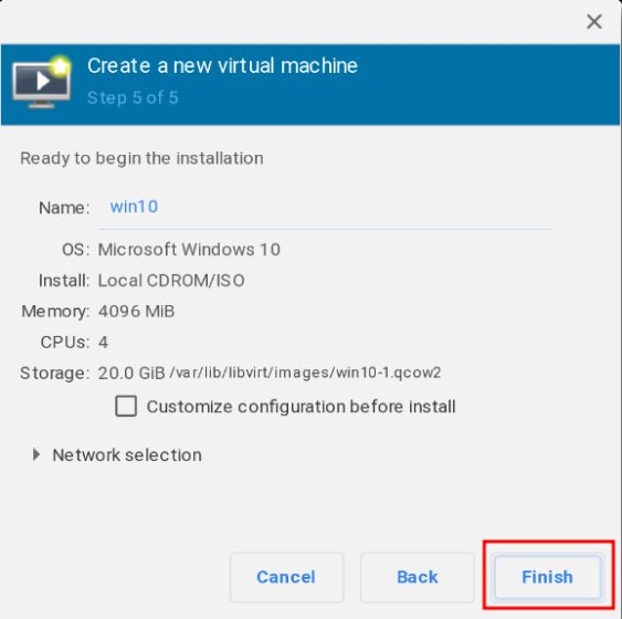 Install Windows 10 on a Chromebook - click on finish