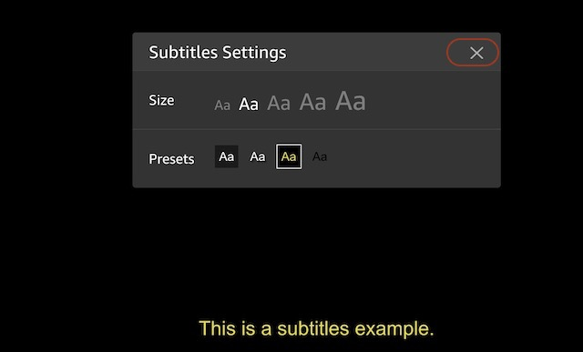 4. Basic Customization Subtitles on Amazon Prime Video