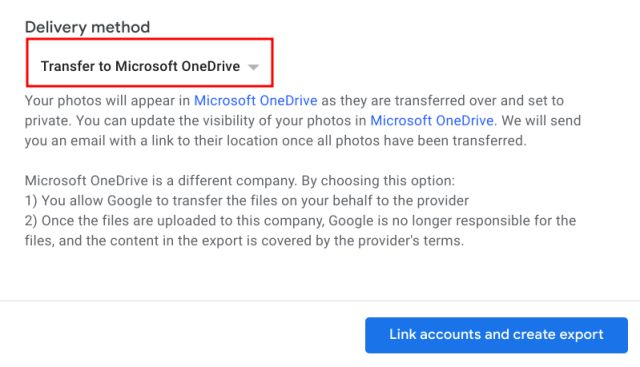 Export Google Photos to OneDrive and Flickr