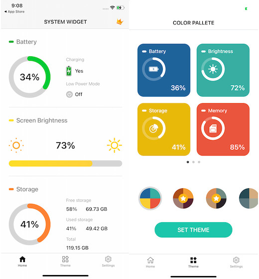 Battery widget and monitor