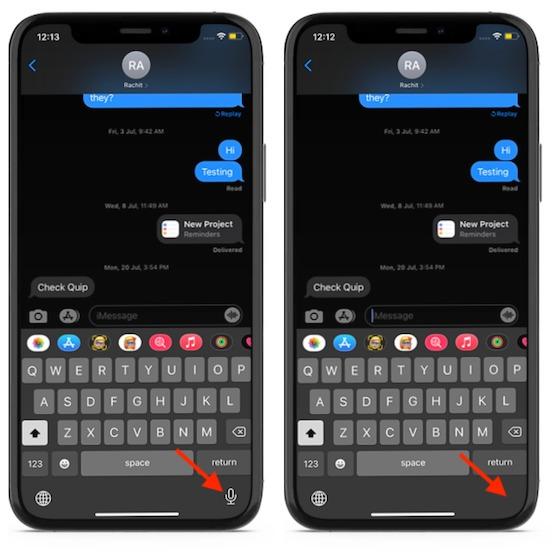 İPhone veya iPad klavyesinde mikrofondan kurtulun