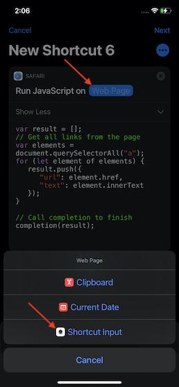 Select Shortcut input