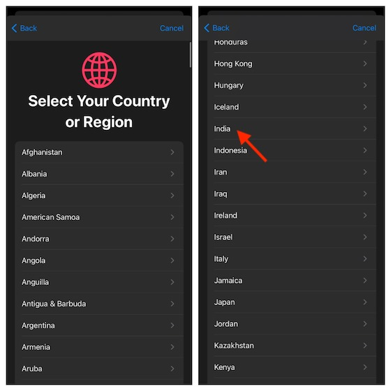 Select your country and region