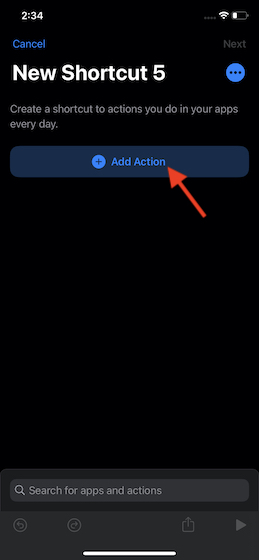 Tap on Add Action