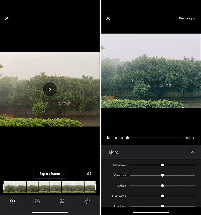 google photos iphone video editing options