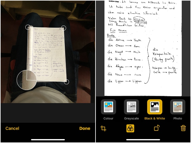 how to scan docs in ios 12