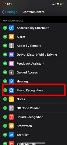 iOS shazam in CC 1