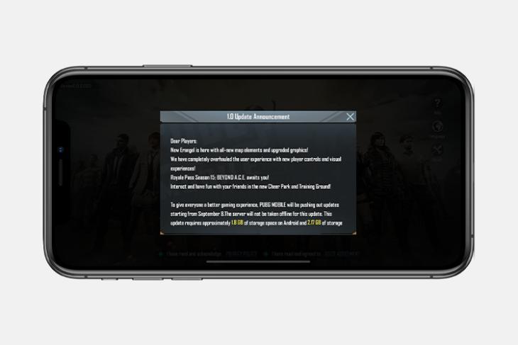 pubg mobile update v1.0