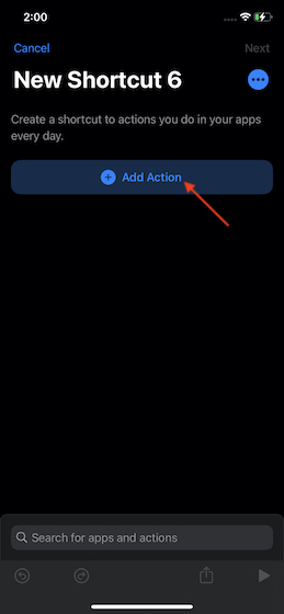 tap on the action button