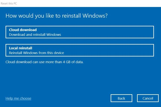 6. Cloud Download and Reset Best Windows 10 Features