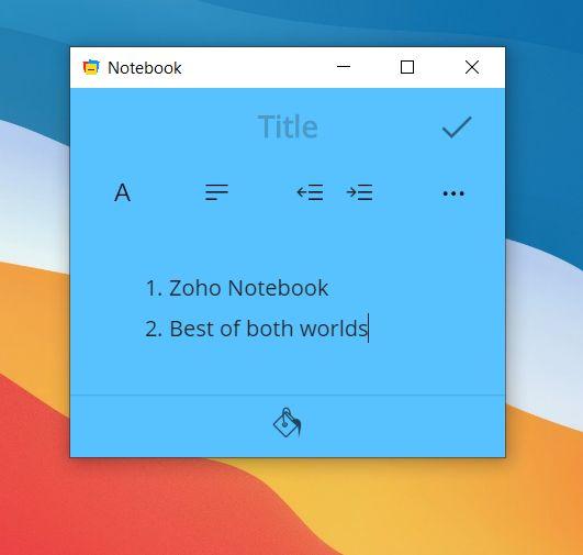 5. Zoho Notebook