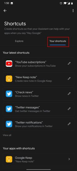 Use Third-party Shortcuts with Google Assistant