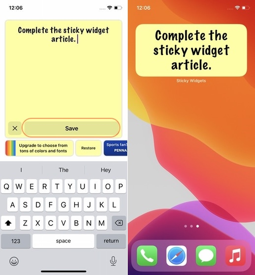 7. add sticky notes to home screen on iPhone