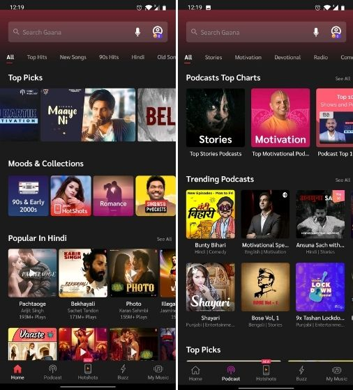 5. Gaana Best Music Streaming Service in India