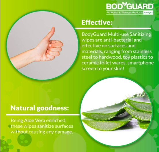 BodyGuard Anti Bacterial Disinfectant Sanitizing Wipes