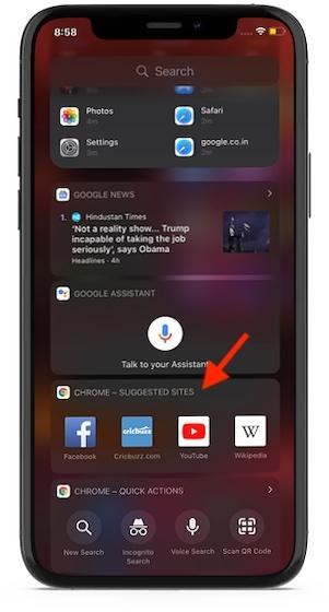 Google Chrome widget