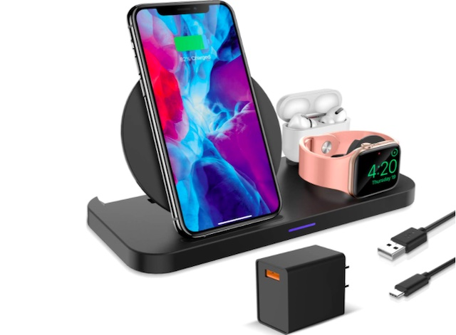 KKM Wireless Charger, 3 in 1 Qi-Certified Wireless Charging Station
