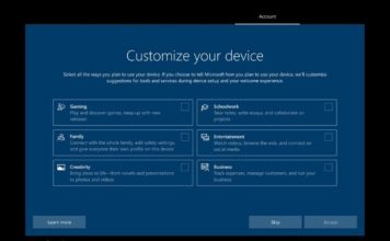 New Windows 10 Setup Screen Asks If You Use the PC for Work, School or Gaming