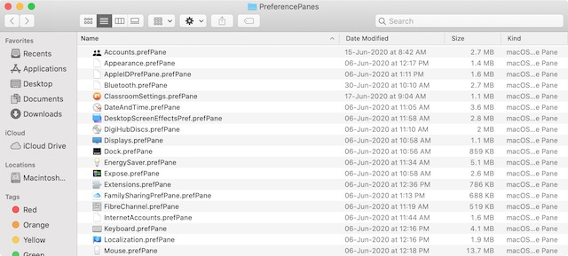 System Preference Panes Folder in