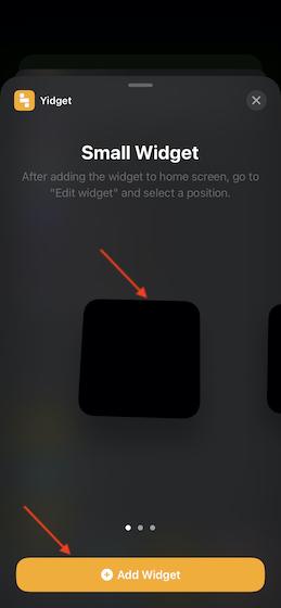 Tap on Add Widget