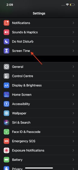 Tap on Screen Time
