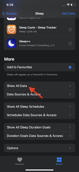 Appuyez sur Afficher toutes les données
