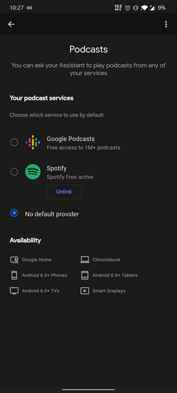 podcasts selection on Assistant