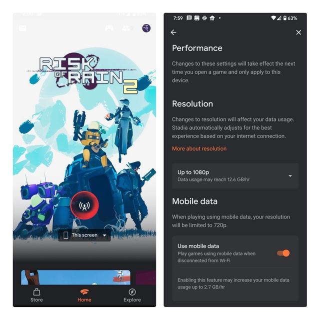 stadia mobile data