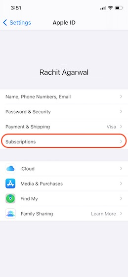 tap on subscriptions