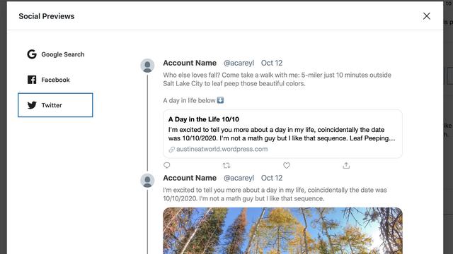 tweet preview on wordpress
