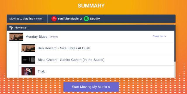 Gardez YouTube Music et la liste de lecture Spotify synchronisés