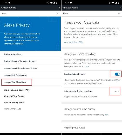 Remove Your Alexa Voice Recordings
