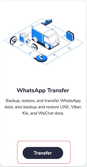 2. Tapping on transfer
