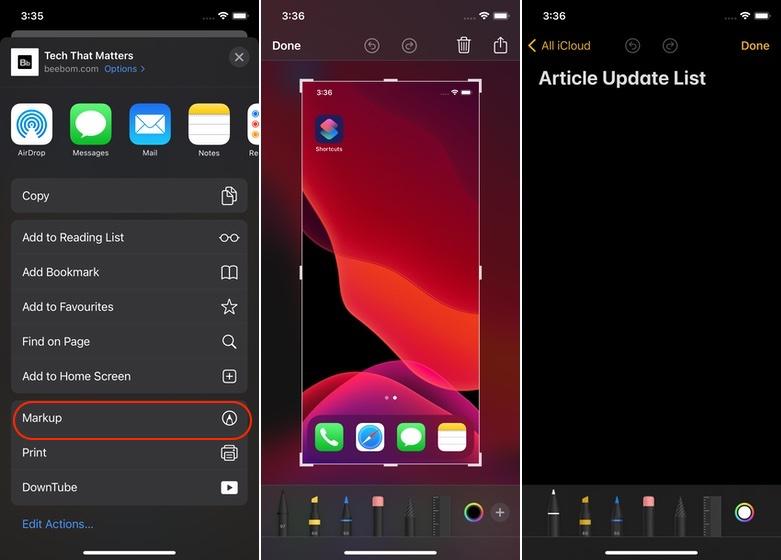 Safari, ekran görüntüsü ve notlarda işaretleme araçlarına erişim