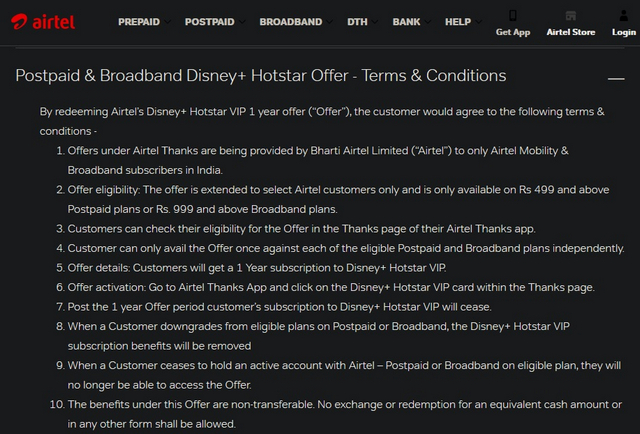 Airtel Offers Free Year of Disney+ Hotstar VIP with Postpaid, Broadband Plans
