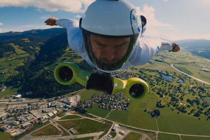 BMW electrified wingsuit feat