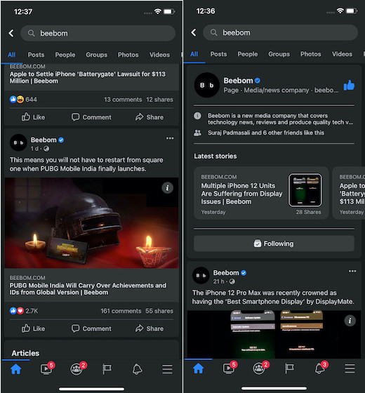 Dark Mode in Facebook