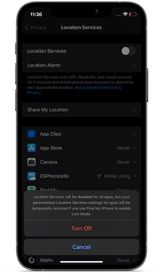 Disable location services