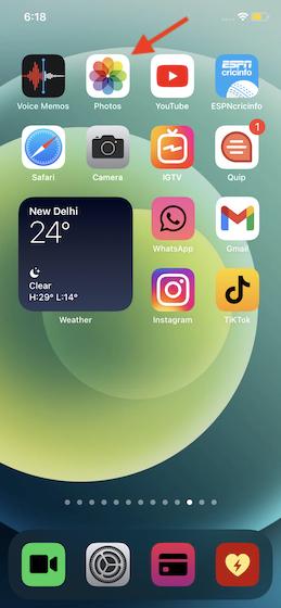 Launch Photos app on iPhone