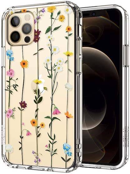 MOSNOVO Wildflower Floral Flower Pattern Designed for iPhone 12 Case 6.1 Inch/Designed for iPhone 12 Pro